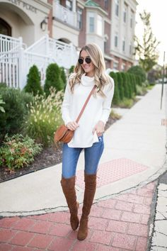 Talking about how over the knee boots are a fall and winter staple with Nordstrom! A perfect way to add a bit of chic to your look. Brown Boots Outfit Winter, Tall Boots Outfit, Winter Boots Outfits, Stylish Winter Outfits, Winter Fashion Outfits, Fall Fashion, Fall Outfits, Camel Boots, Boot Outfits