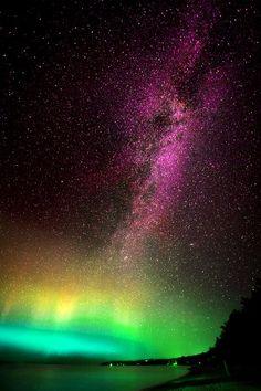 aurora borealis and milky way - Leland, Michigan   www.freedomathometeam.com/Markb