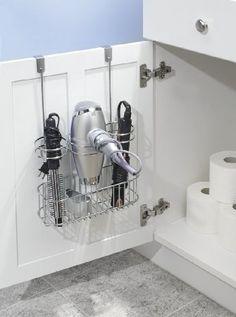 mdesign Soporte para secador y rizador, para colgar sobre puerta, Organizador para el baño,Cromo