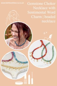 Colour and positivity in one gemstone choker necklace. The charms spell out a positive sentiment or maybe his and her initials. Gemstone Colors, Gemstone Beads, Charmed Spells, Aquamarine Colour, Letter Charms, Blue Lace Agate, Becca, Handmade Necklaces, Initials