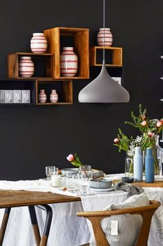 as an accent wall Black Walls, White Walls, Rue Verte, New York Loft, Sweet Home, Dark Interiors, House Interiors, House By The Sea, Elegant Dining