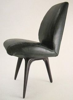 Carlo Mollino; Unique Leather and Lacquered Wood Chair for F & G Minola House, 1945.