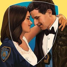 Jake peralta and Amy Santiago fanart by Peraltiago Brooklyn Nine Nine Funny, Brooklyn 9 9, Series Movies, Tv Series, Rosa Diaz, Charles Boyle, Jake And Amy, Jake Peralta, Cinema Tv