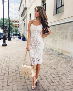 Midi White Lace Dress Source - womens yellow dress, white casual dresses for juniors, white dress womens *ad Boho Outfits, Dress Outfits, Fashion Outfits, Womens Fashion, Summer Outfits, Preppy Outfits, Dress Fashion, Fashion Ideas, Dress Summer