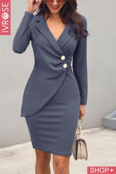 Ruched Button Design Blazer Dress Sleeve Length: long sleeve Occasion:Casual,Work wear Dress Silhouette: sheath Pattern Type: plain Style: elegant Material: polyester Collar & neckline: notch lapel Style:Brief Trend Fashion, Look Fashion, Womens Fashion, Cheap Fashion, Female Fashion, Fashion Ideas, Mode Outfits, Fashion Outfits, Blazer Fashion