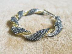 Grey Ribbon Bracelet Beaded Ribbon Twirl in Gold Silver OOAK Handmade by JeannieRichard, $40