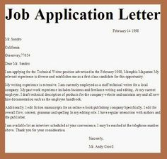 Employment Application Letter - An application for employment, job ...