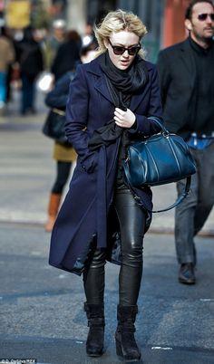 04e486c26b83 Dakota Fanning wearing Sofia Coppola for Louis Vuitton Suede Asphalt Handbag  Helmut Lang Skinny Leather Pants