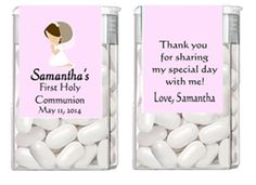 Personalized First Communion Tic Tac Label Party Favor - Kneeling Praying Girl (race and hair color can be changed)