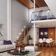 30 interiors and white brick walls for trendy home.The white color is ideal as a base in almost every aspect of the space design. Painted Brick Walls, Brick Accent Walls, White Brick Walls, Colorful Interior Design, Colorful Interiors, Stone Wall Design, Villa, Front Rooms, Trendy Home