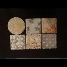Scrapbook paper + leftover tiles from our floor + modgepodge = new coasters