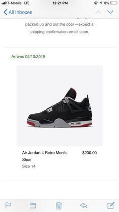 bff474e1a24 2019 Air Jordan Retro 4 OG Bred Black Cement Size 14 #fashion #clothing #