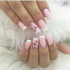 Pink and white clear pink acrylic with rhinestone and flower details and accent nails Acrylic Gel Nails - Summer Fall Nail Designs - Cute Fingernail Art Ideas French Nails, Gel Nail Art, Acrylic Nails, Nail Polish, Natural Gel Nails, Flower Nail Art, Elegant Nails, Super Nails, Nagel Gel