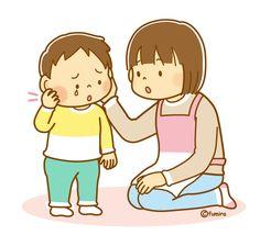 おたふくかぜでほっぺが腫れた子供とママのイラスト(ソフト)