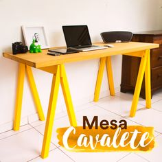 DIY - mesa cavalete  Confira o passo a passo no canal diycore www.youtube.com/diycore Table Shelves, Ideias Diy, Diy Furniture Plans, My Room, Decoration, Home And Living, Home Goods, Interior Decorating, Sweet Home