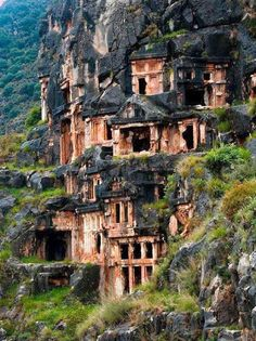 The Amazing Rock-Cut Tombs of Myra's Lycian Necropolis The ancient town of Myra in the Lycia region of Anatolia, modern day Turkey, boasts a number of breathtaking ruins including the Acropolis on the Demre-plateau, the Roman theatre and Roman baths. Places Around The World, The Places Youll Go, Places To See, Around The Worlds, Beautiful World, Beautiful Places, Amazing Places, Foto Nature, Magic Places