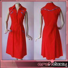 Vintage 1970's Disco Cotton Red Trimmed Gingham Country Summer Dress UK10  http://www.ebay.co.uk/itm/Vintage-1970s-Disco-Cotton-Red-Trimmed-Gingham-Country-Summer-Dress-UK10-/302007868800?hash=item4651125d80:g:oAcAAOSwkl5Xfrws