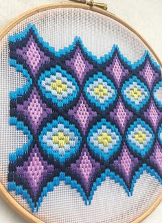 Hoop Framed Bargello Needlepoint Florentine Long stitch Medallions handmade Azure, Lilac Yellow Purple Tapestry Embroidery Textile Art Loop Bargello Needlepoint or Florentine Longstitch Original handmade in Spring 2018 in beautiful calm co Bargello Patterns, Bargello Needlepoint, Bargello Quilts, Needlepoint Stitches, Needlework, Hardanger Embroidery, Hand Embroidery Stitches, Beaded Embroidery, Cross Stitch Embroidery