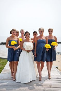 navy bridesmaids+yellow