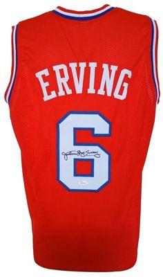 fc9dbe52d Julius Dr. J Erving Signed Custom Red Pro-Style Basketball Jersey JSA