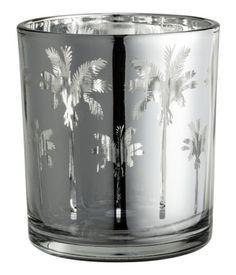 Glass Tea Light Holder | Silver/palms | Home | H&M US