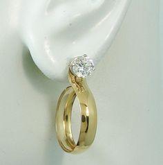 EARRING JACKETS 14k Gold Filled Medium Dangle Hoop Diamond Enhancer Earring Jacket for Suds, Gold Jackets, Hoop Jackets JH20MEDGFSM