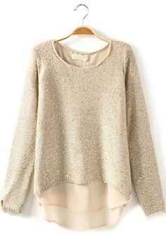 Glitter Chiffon Paneled Sweater by OASAP