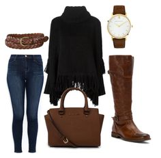 """I keep going to the river to pray"" by mari-aaa ❤ liked on Polyvore featuring J Brand, Frye, Dolce&Gabbana, Michael Kors, Uniqlo, Larsson & Jennings, outfit, Leather, brown and autumn"