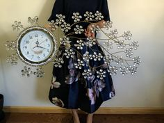 Larger Silent Wall Clock - with Shiny Rhinestones for Living Rooms