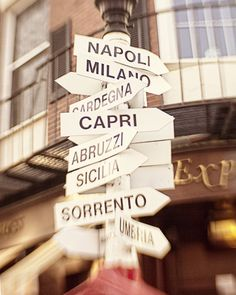 Italy City Signs Photograph Street Signs print Boston Photography Map City Print Lead me to Italy Home Decor Wall Art USD) by JillianAudreyDesigns Italian Party, Italian Theme, Hotel Secrets, Thinking Day, Street Signs, Turin, Home Decor Wall Art, Italy Travel, Italy Trip