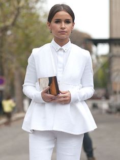 Paris Fashion Week Street Style Spring 2013 - Marie Claire ....all white with a pop of color...