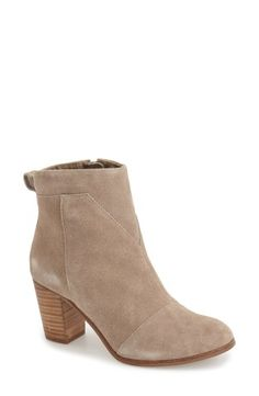 """A chunky, architectural heel grounds a svelte suede bootie detailed with meticulous angled seaming. 3"""" heel (size 8.5).4 1/2"""" boot shaft.Side zip closure.Suede upper/textile lining/rubber sole.By TOMS; imported.BP. Shoes.With every pair you purchase, TOMS will give a pair of new shoes to a child in need. One for One®.Watch the video:Boot Fit FundamentalsLearn More:How to Measure Boots"""