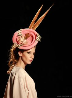 Celebrate the work of Tomas Montoya, a milliner from Columbia. Sense the adventure, colours and excitement from his homeland in South America.