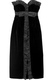 Miu MiuRuffled silk taffeta-trimmed velvet midi dress