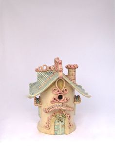 Handbuilt Ceramic Fairy House Whimsical hand built ceramic hand-built ceramic garden art