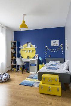 miniature Chambre pour un garçon qui aime dessiner, le bleu et le jaune, Région Parisienne, Delphine Guyart Design - décorateur d'intérieur