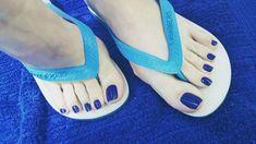 No photo description available. Beautiful Toes, Pretty Toes, Feet Soles, Women's Feet, Cute Pedicures, Long Toenails, Blue Toes, Pretty Females, Feet Nails