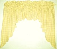 Yellow Scalloped Window Swag Valance with White Lining (optional center piece available)