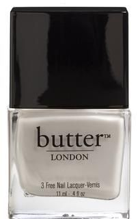 "butter 3 Free Nail Lacquer in ""Pearly Queen"", A winter white with an added pearl sheen for softness and depth, making it beautifully wearable."