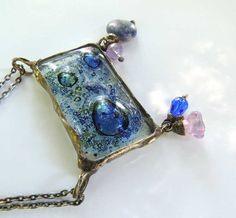 Statement necklace by MARIAELA blue nautical ocean sea by MARIAELA, $38.00