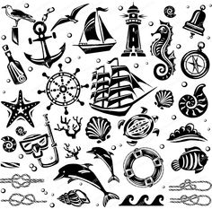 Sea pack anchor ship rudder seagull star seashell /Plan Vector Pattern Art Clip Graphic .cdr .eps .svg printable cuttable line Laser Cut