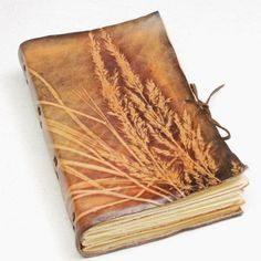 Plant embossed leather journal