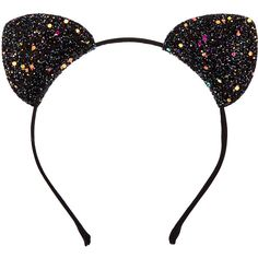 Black Glitter Cat Ears Headband ($7.99) ❤ liked on Polyvore featuring accessories, hair accessories, cat ear hairband, cat ear headband, thin headbands, head wrap hair accessories and hair band accessories