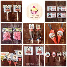 Peças personalizadas THOMAS E AMIGOS... ... Chupas, chocolates, sacos de gomas/doces, espetadas de gomas, cones de pipocas, grinaldas, palitos de brigadeiros e cupcakes.