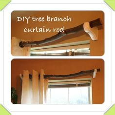 DIY tree branch curtain rod. Cut or find 1.5 inch thick tree branches, paint and/ or Cover with polyurethane as an instant sealer. Use a variation if branch ends to create variation.