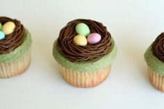 frosting nests on cupcakes