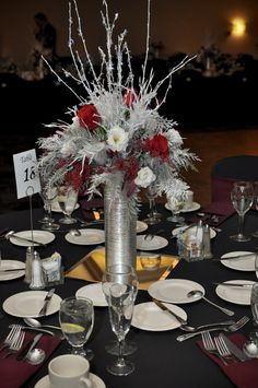 Tall Silver and Red Reception Centerpiece