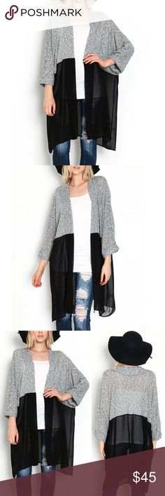 ❤️🎁 Women Knit And Chiffon Cardigan🎁❤️ Women Knitted Kimono Cardigan Chiffon Blouse Shirt Long Female Casual Cardigan Knit Chiffon Splicing Cardigans.   It is so unique due to the different materials and colors.  Great as a gift or treat yourself to something luxurious. Other