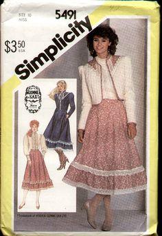 62f118ad0c550 Simplicity 5491 1982 Gunne Sax 3 Piece Dress