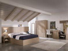 Camera da letto minimalista interamente in legno massiccio, ideale per arredare alberghi. #solidwood #hotelfurniture #madeinitaly #moderncountry #minimal   www.demarmobili.it